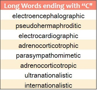 Words that End in C | WordRequest.com