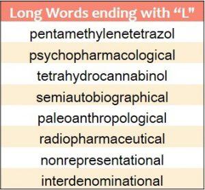 Longest words ending in L