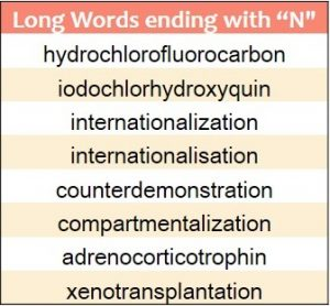 Longest words ending in N