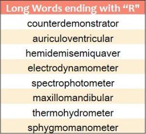 Longest words ending in R