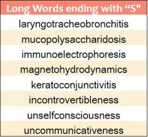 Longest words ending in S