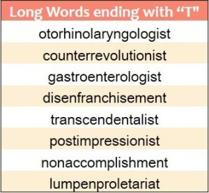 Longest words ending in T