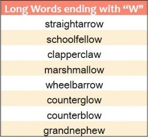 Longest words ending in W