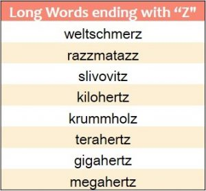 Longest words ending in Z