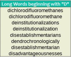 Long words - D