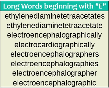 Words that start with e