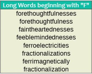 Long words - F