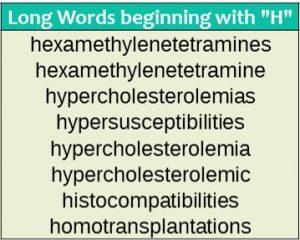 Long words - H