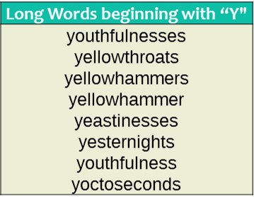 Longest Words That Start With Y